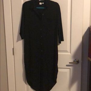 knit button dress with front pocket